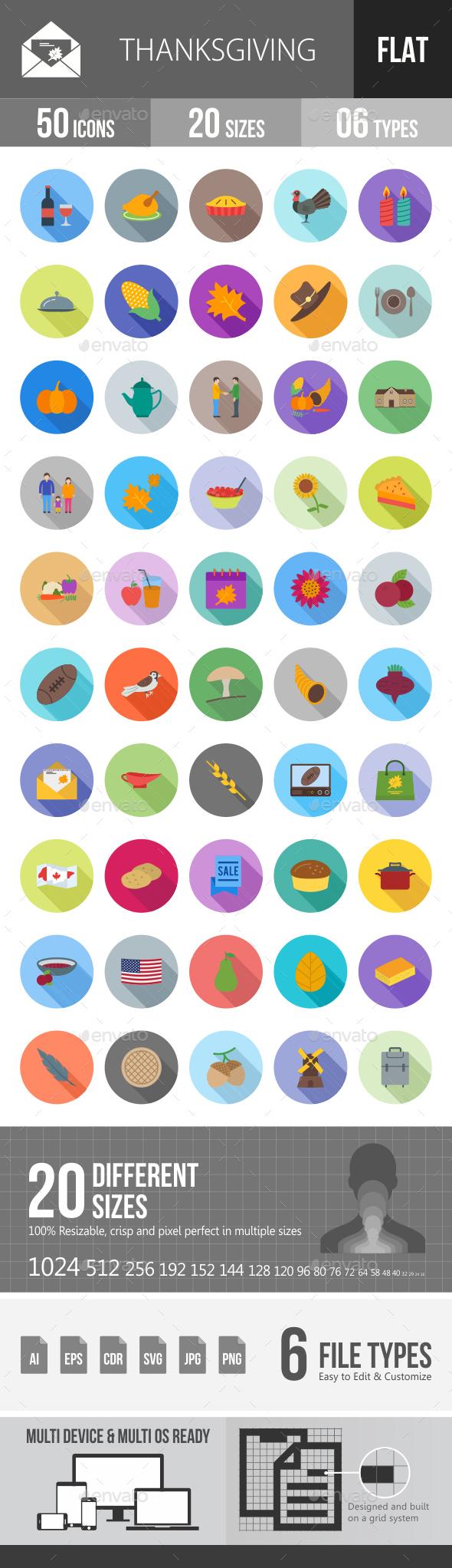 Thanksgiving Flat Shadowed Icons - Icons
