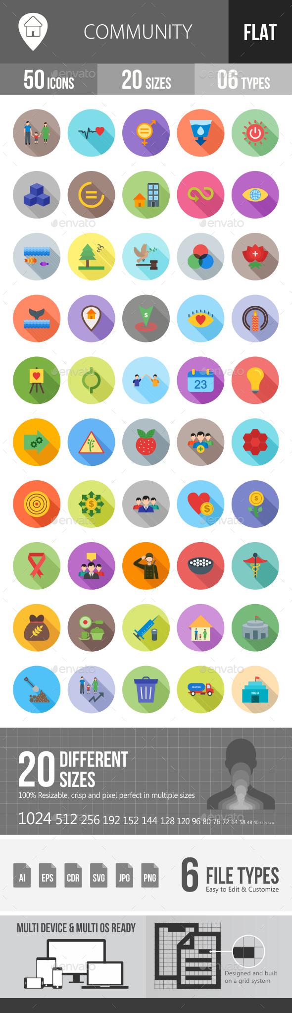 Community Flat Shadowed Icons - Icons