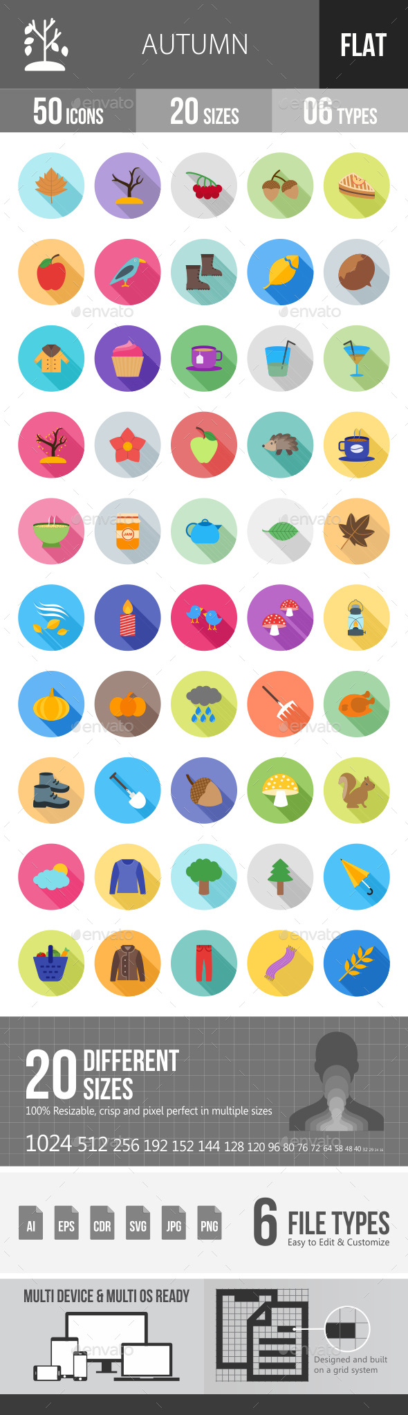 Autumn Flat Shadowed Icons - Icons