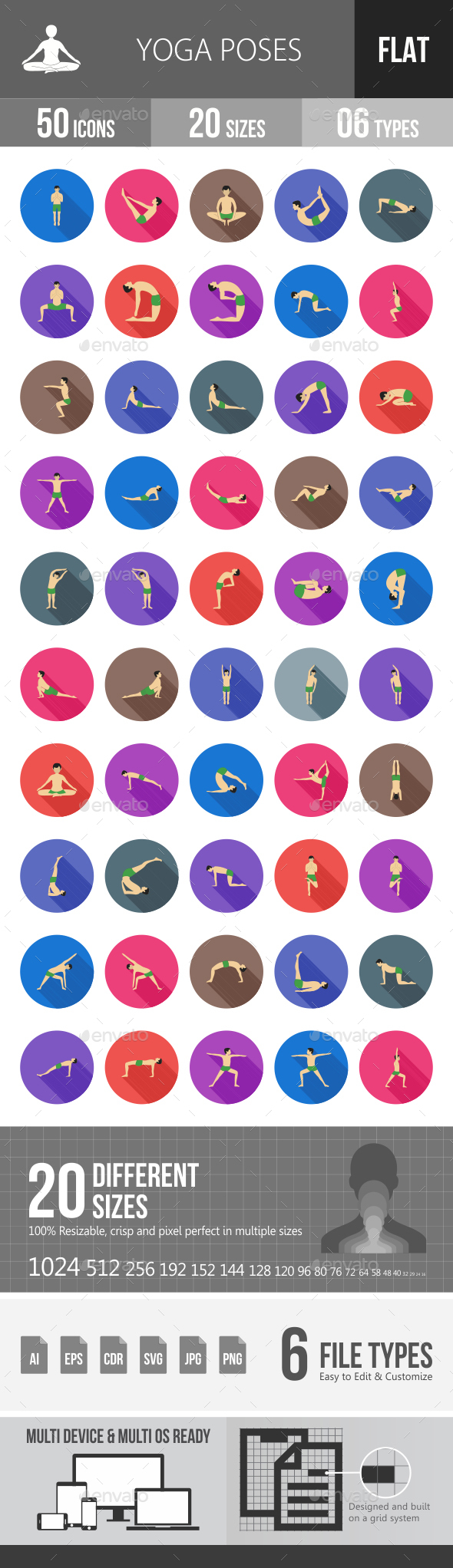 Yoga Poses Flat Shadowed Icons - Icons