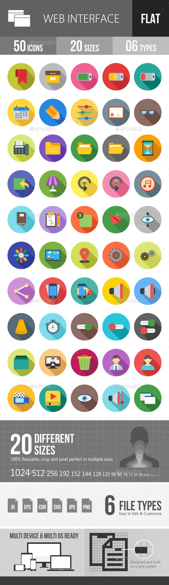 Web Interface Flat Shadowed Icons - Icons