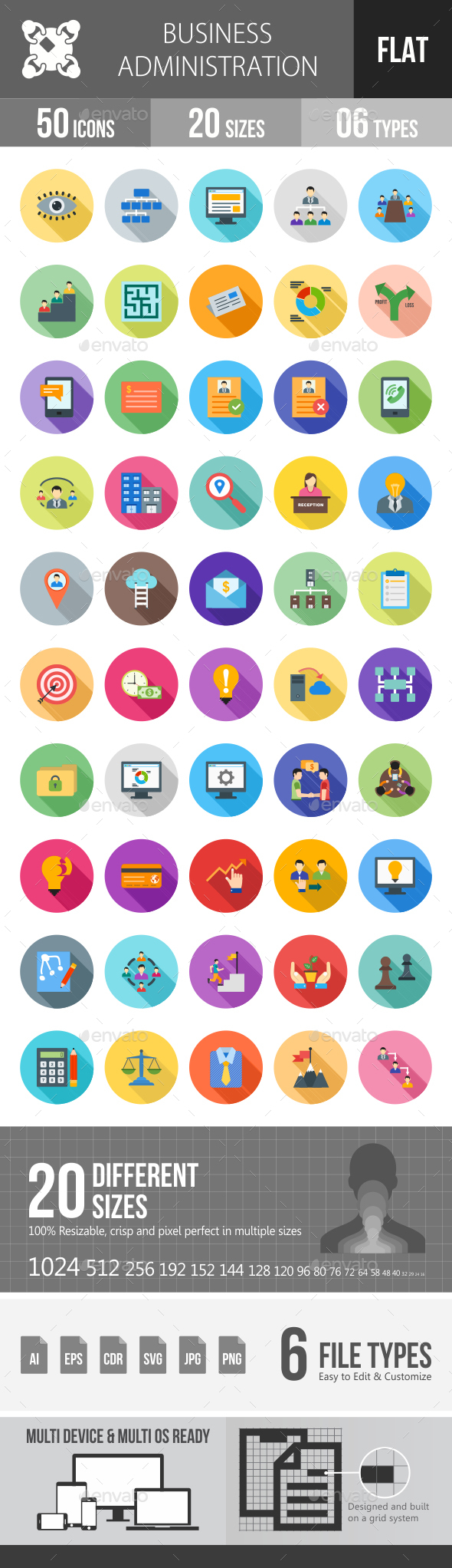 Business Administration Flat Shadowed Icons - Icons