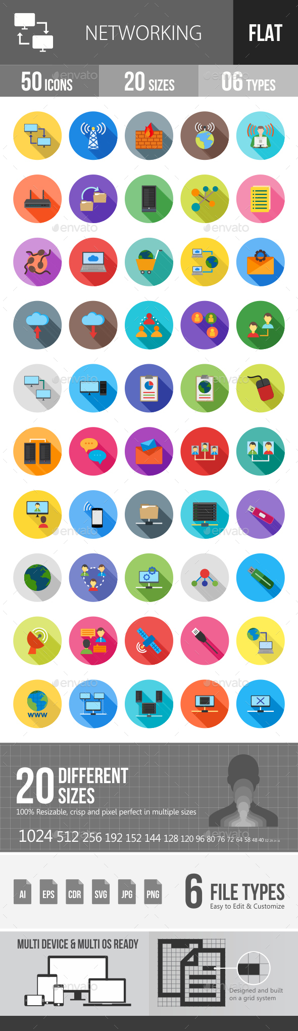 Networking Flat Shadowed Icons - Icons