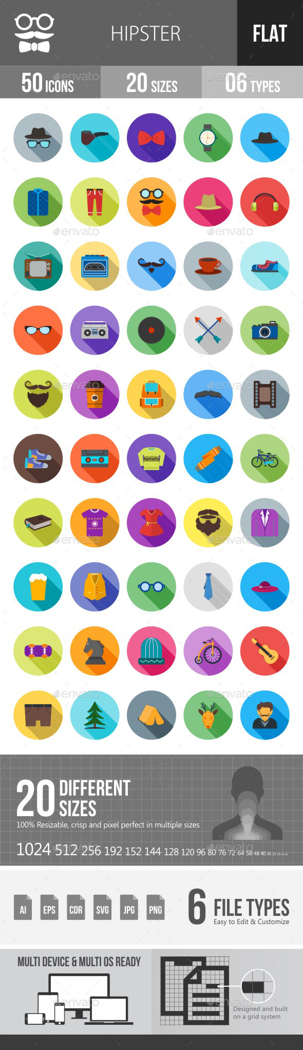 Hipster Flat Shadowed Icons - Icons