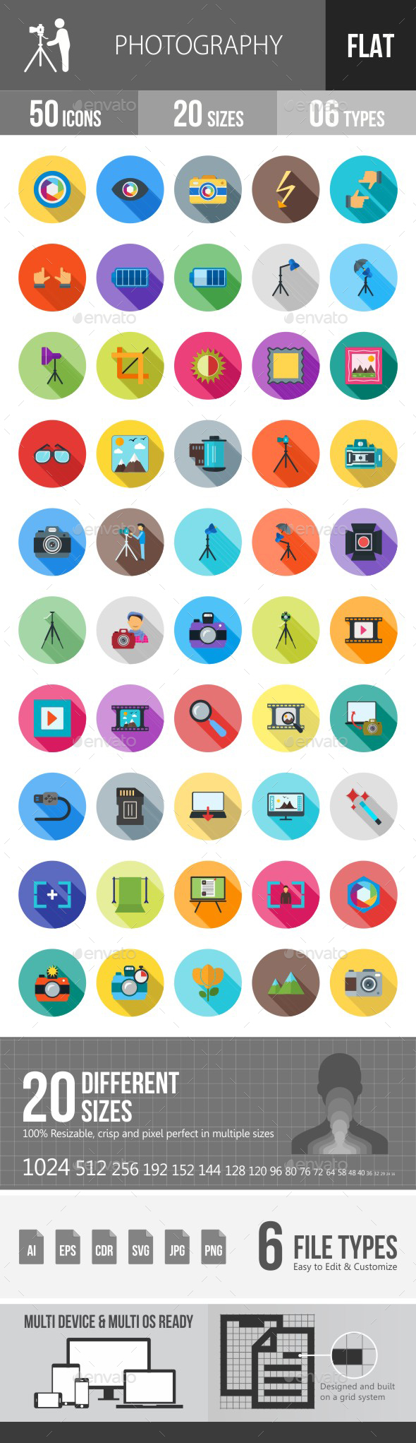 Photography Flat Shadowed Icons - Icons