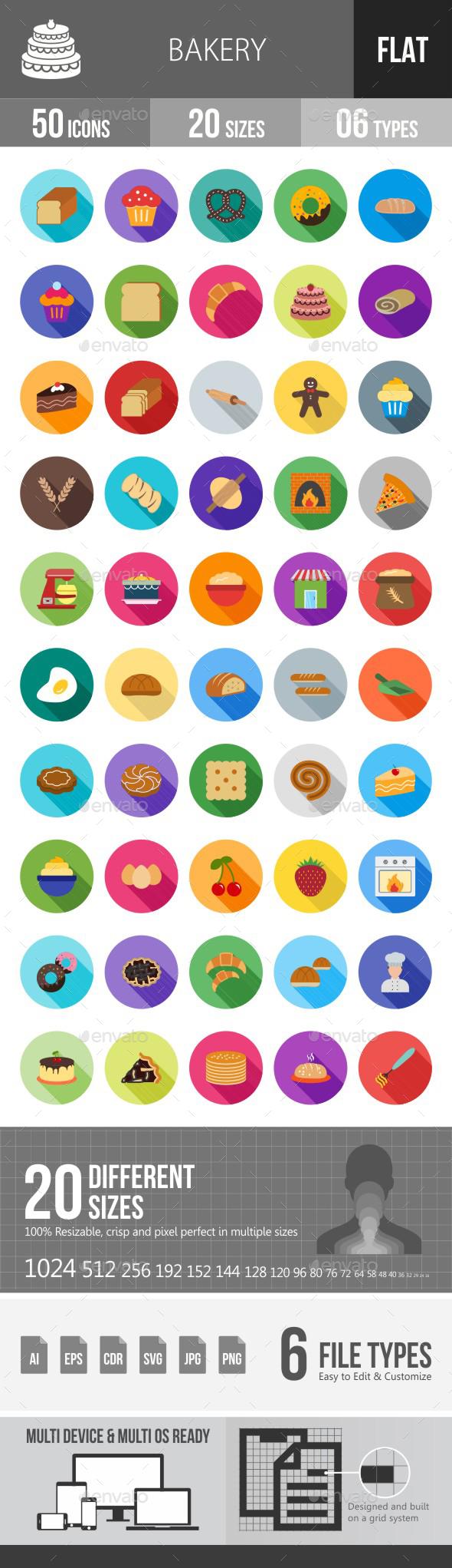 Bakery Flat Shadowed Icons - Icons