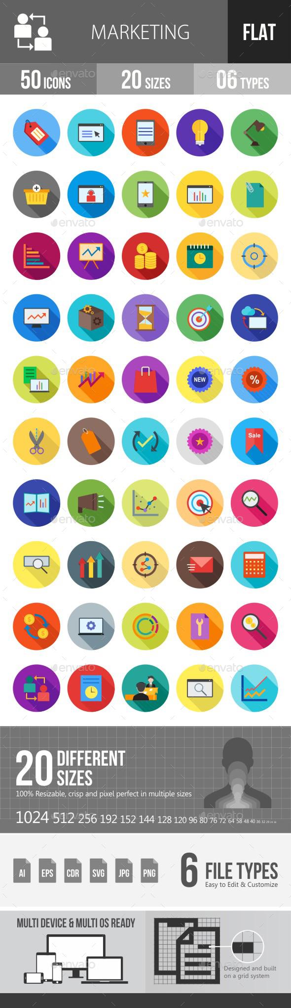 Marketing Flat Shadowed Icons - Icons