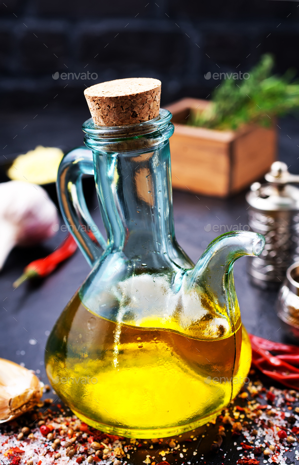 oil in bottle - Stock Photo - Images
