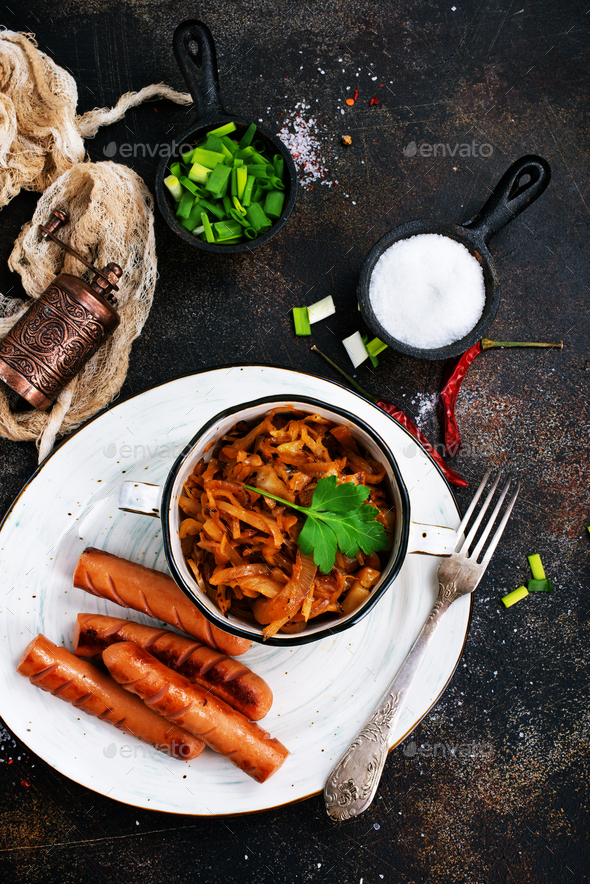 sausages with cabbage - Stock Photo - Images