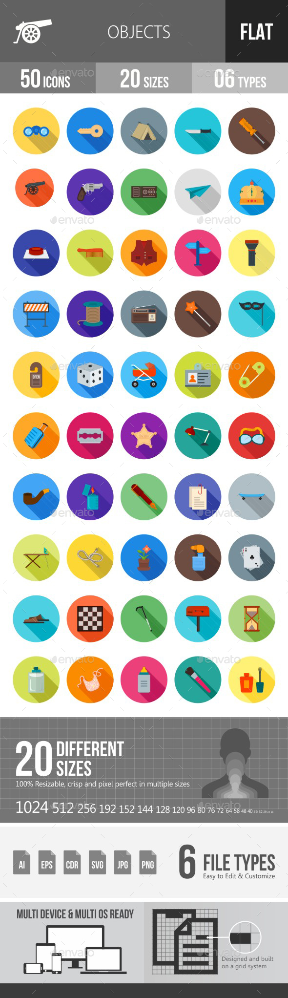 Objects Flat Shadowed Icons - Icons