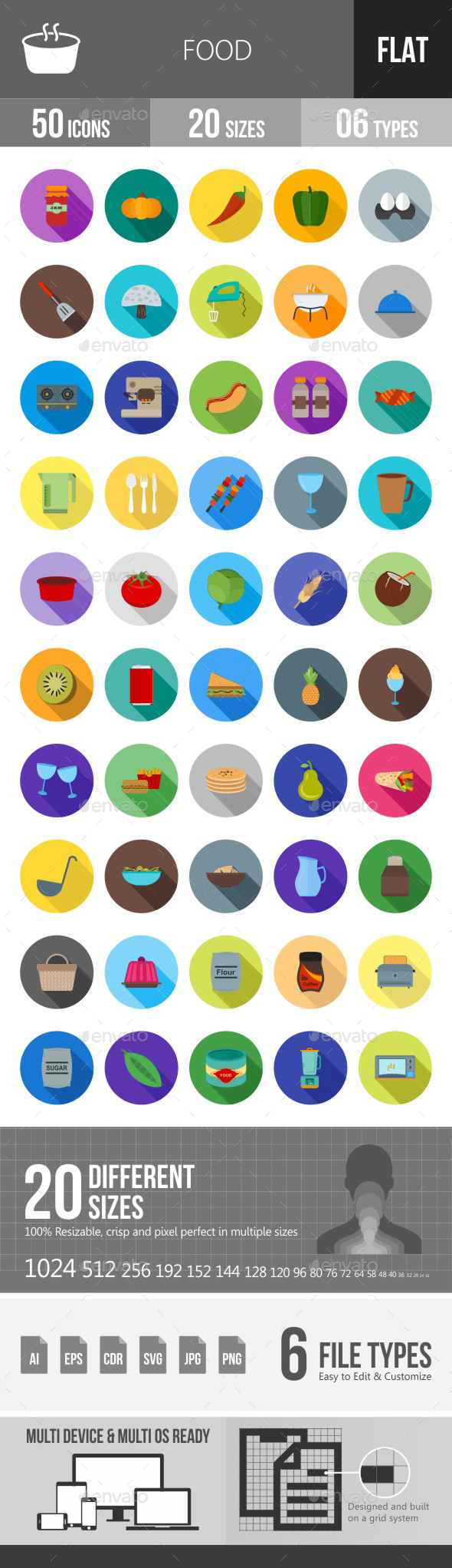 Food Flat Shadowed Icons - Icons