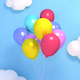 Balloons in the Sky and Fireworks - VideoHive Item for Sale