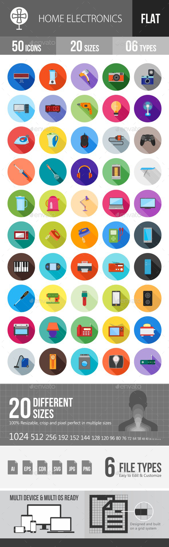Home Electronics Flat Shadowed Icons - Icons