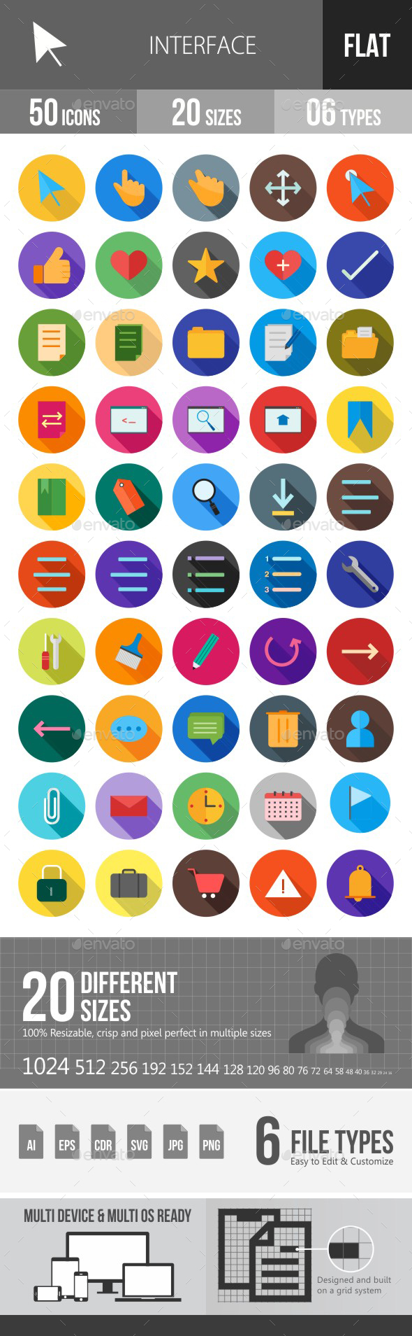 Interface Flat Shadowed Icons - Icons