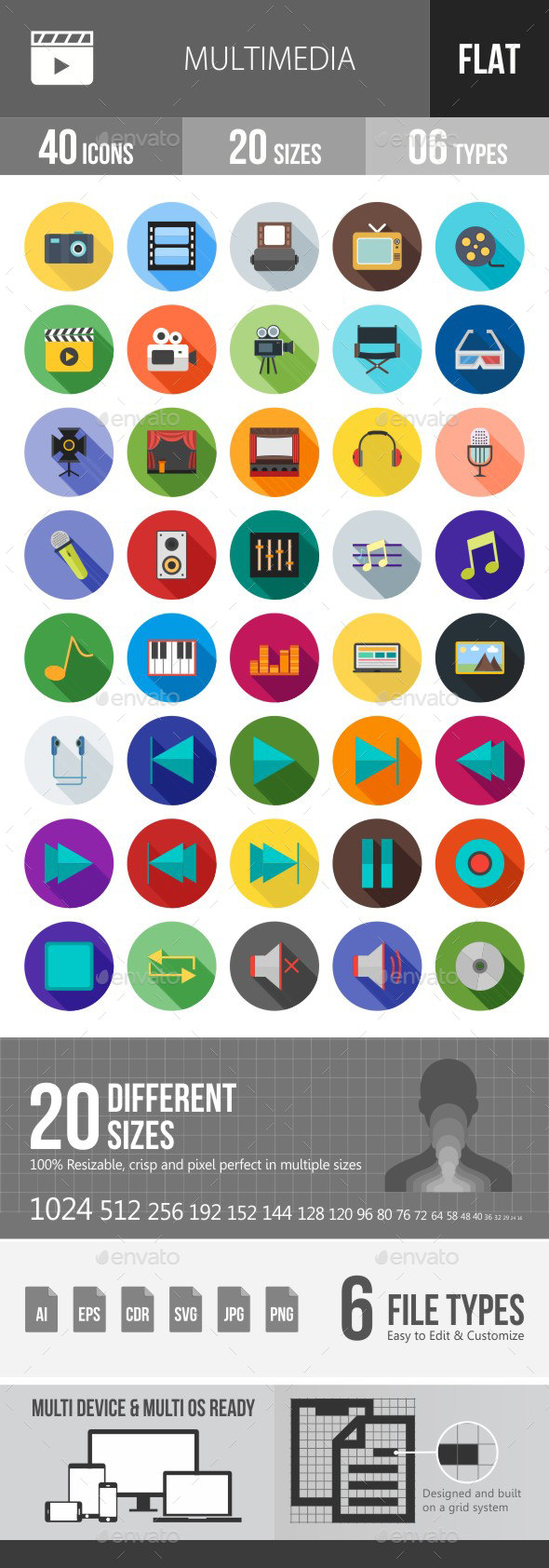 Multimedia Flat Shadowed Icons - Icons