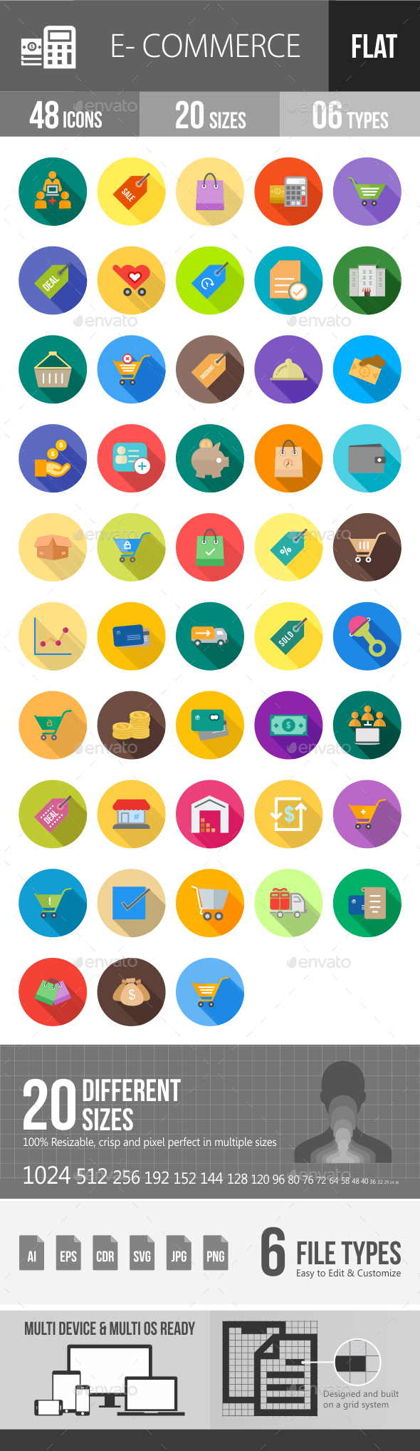 Ecommerce Flat Shadowed Icons - Icons