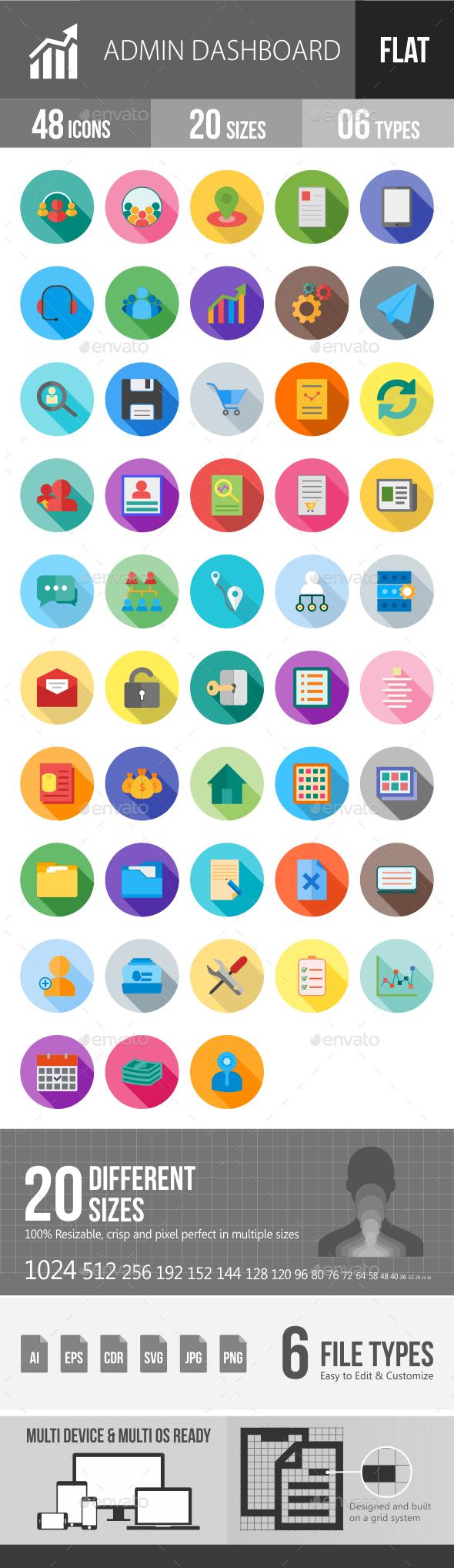 Admin Dashboard Flat Shadowed Icons - Icons