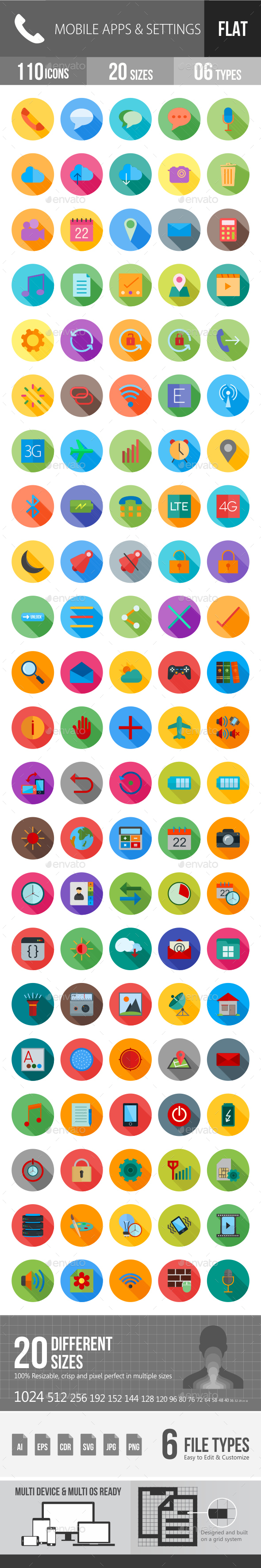 Mobile Apps & Settings Flat Shadowed Icons - Icons