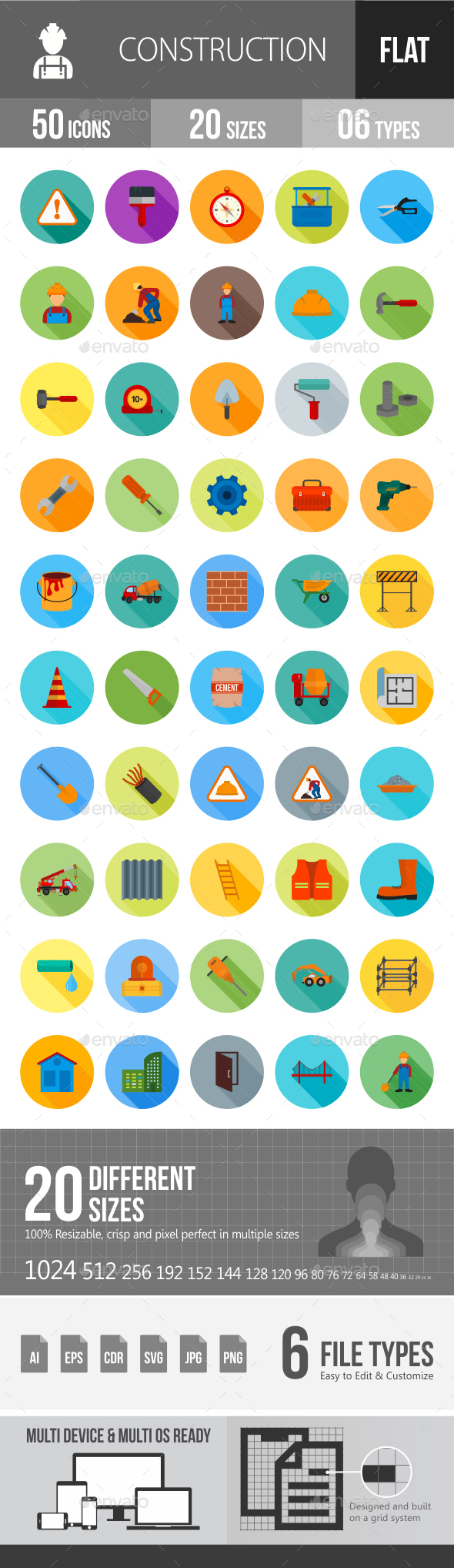 Construction Flat Shadowed Icons - Icons