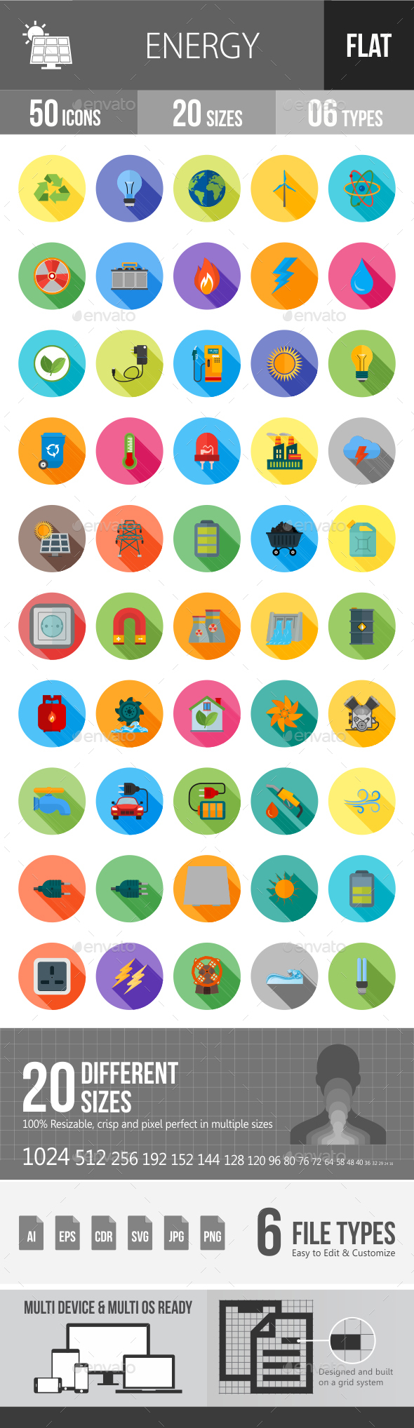 Energy Flat Shadowed Icons - Icons