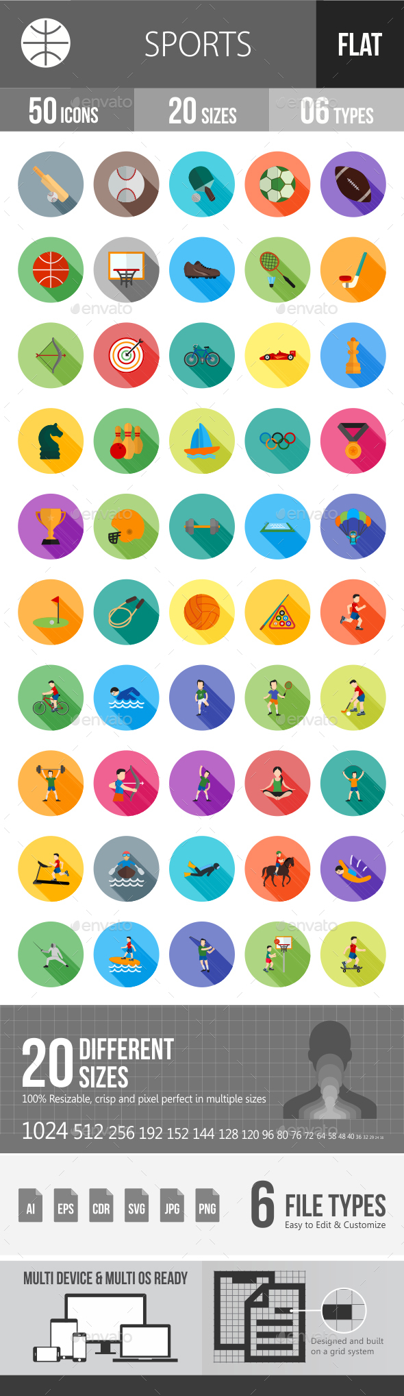 Sports Flat Shadowed Icons - Icons