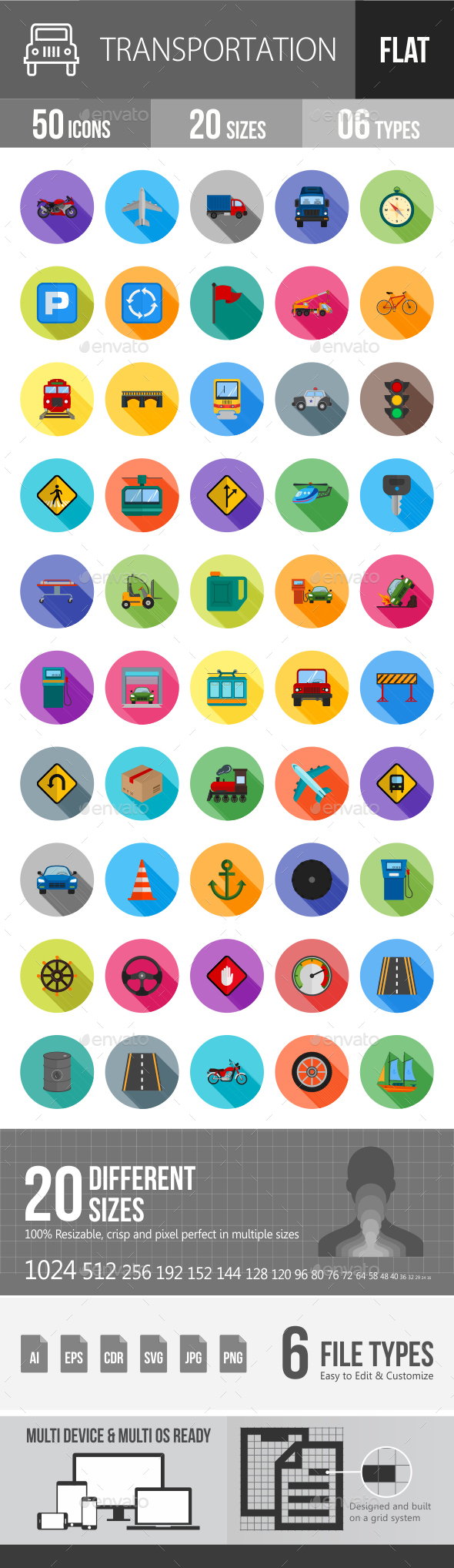 Transport Flat Shadowed Icons - Icons