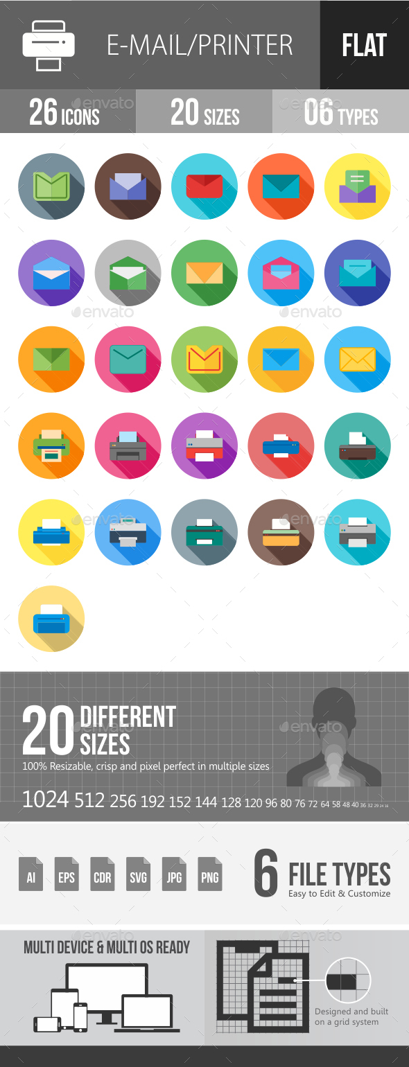 Email & Printer - Technology Flat Shadowed Icons - Icons