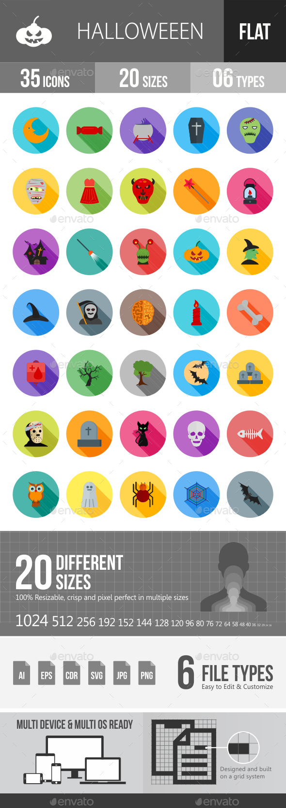 Halloween Flat Shadowed Icons - Icons