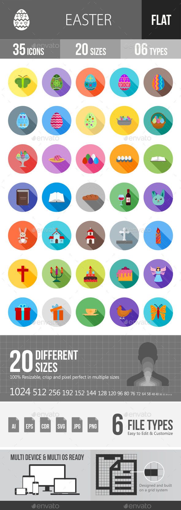 Easter Flat Shadowed Icons - Icons