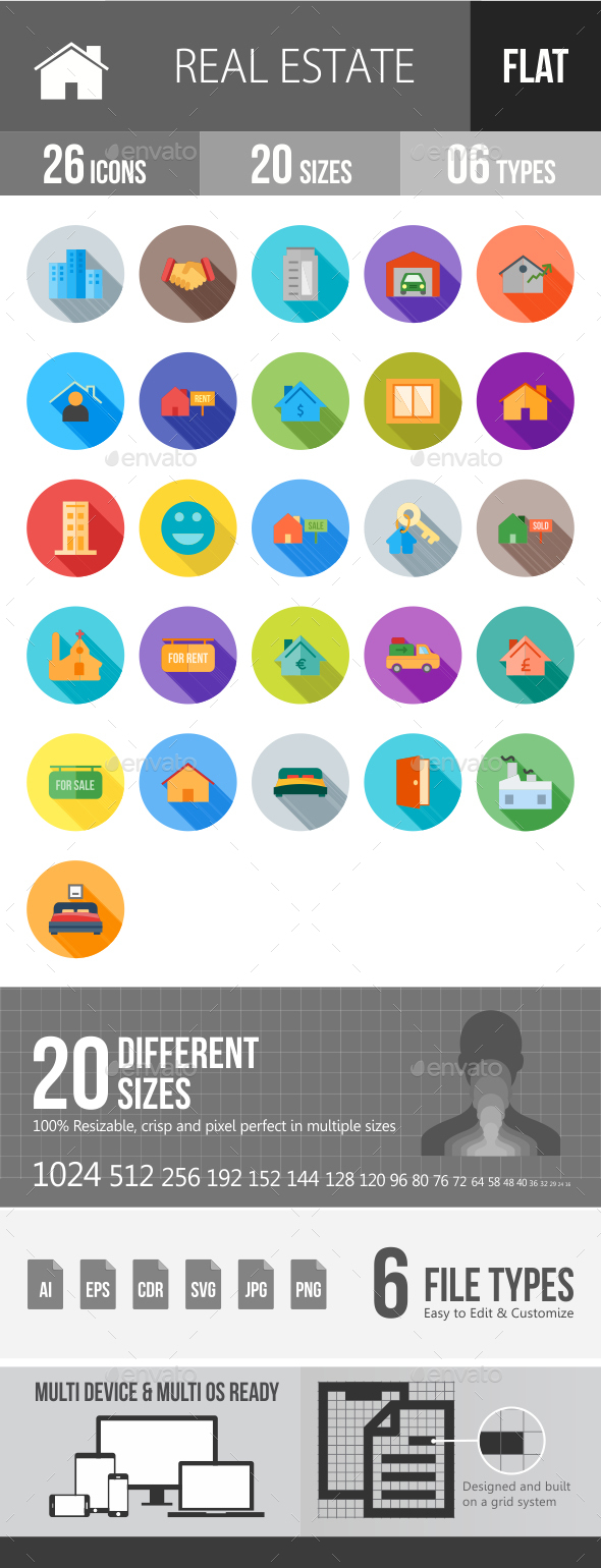 Real Estate Flat Shadowed Icons - Icons