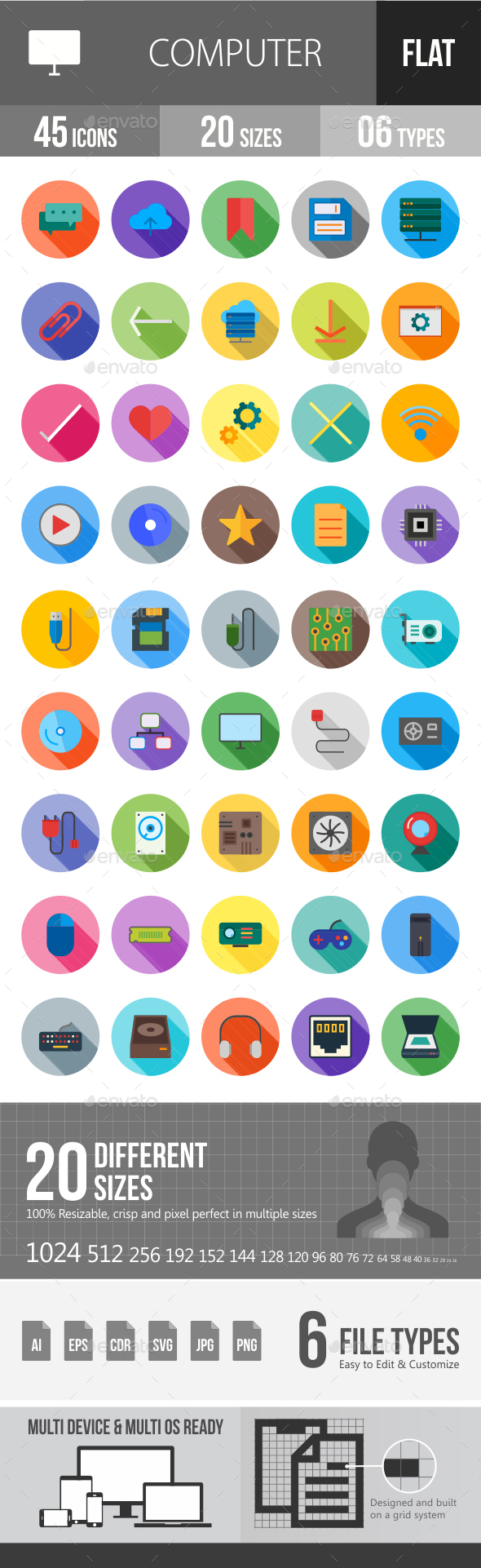 Computer Hardware Flat Shadowed Icons - Icons
