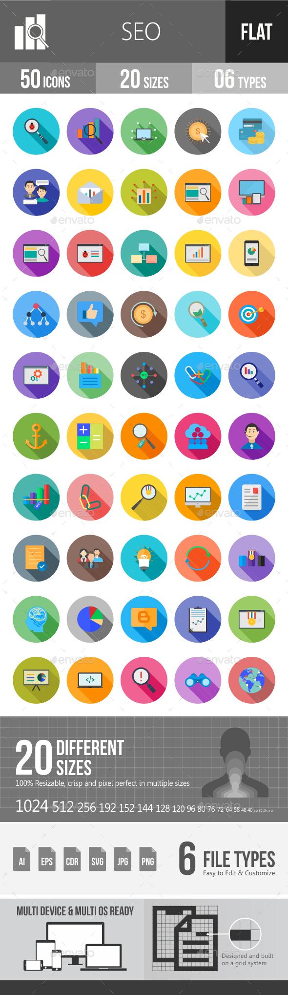 SEO Flat Shadowed Icons - Icons
