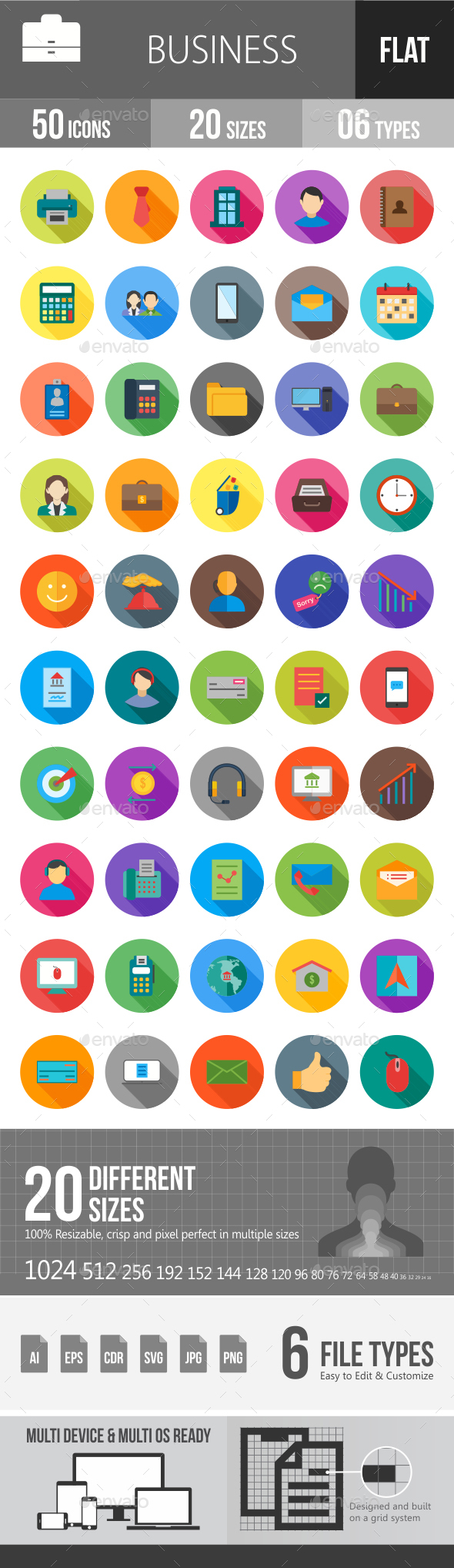 Business Flat Shadowed Icons - Icons