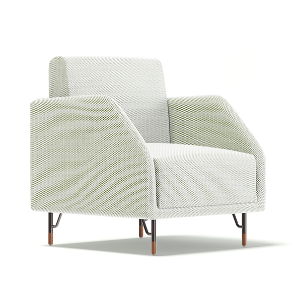 White Fabric Armchair 3D Model - 3DOcean Item for Sale