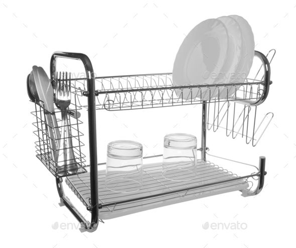 dish drainer isolated - Stock Photo - Images