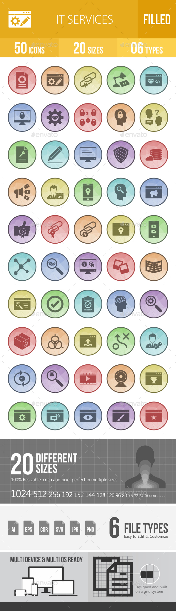 IT Services Filled Low Poly B/G Icons - Icons