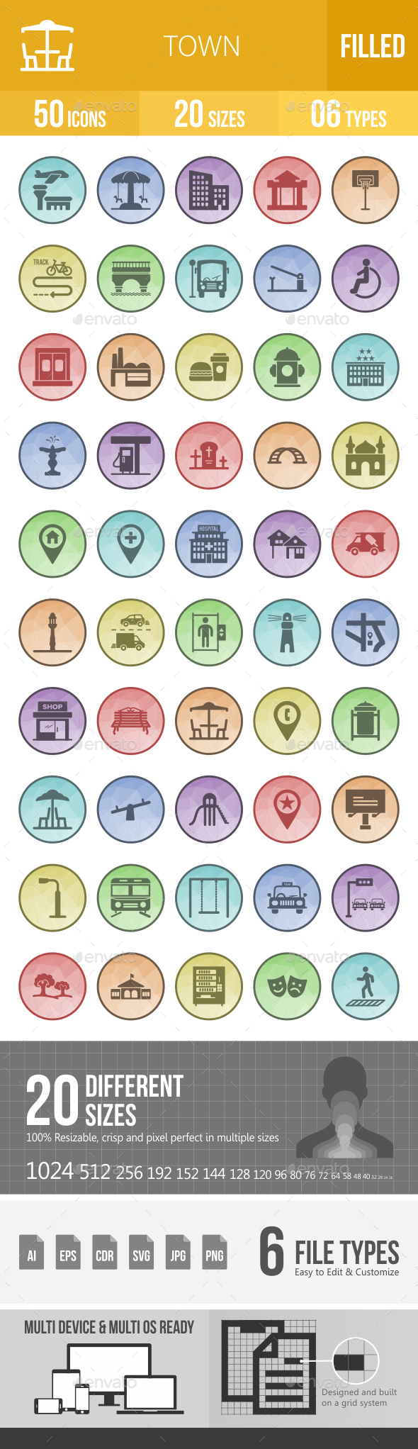 50 Town Filled Low Poly B/G Icons - Icons