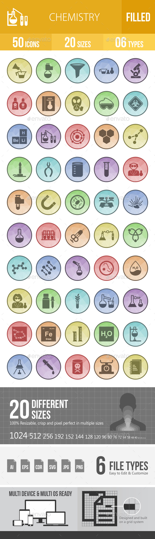 50 Chemistry Filled Low Poly B/G Icons - Icons