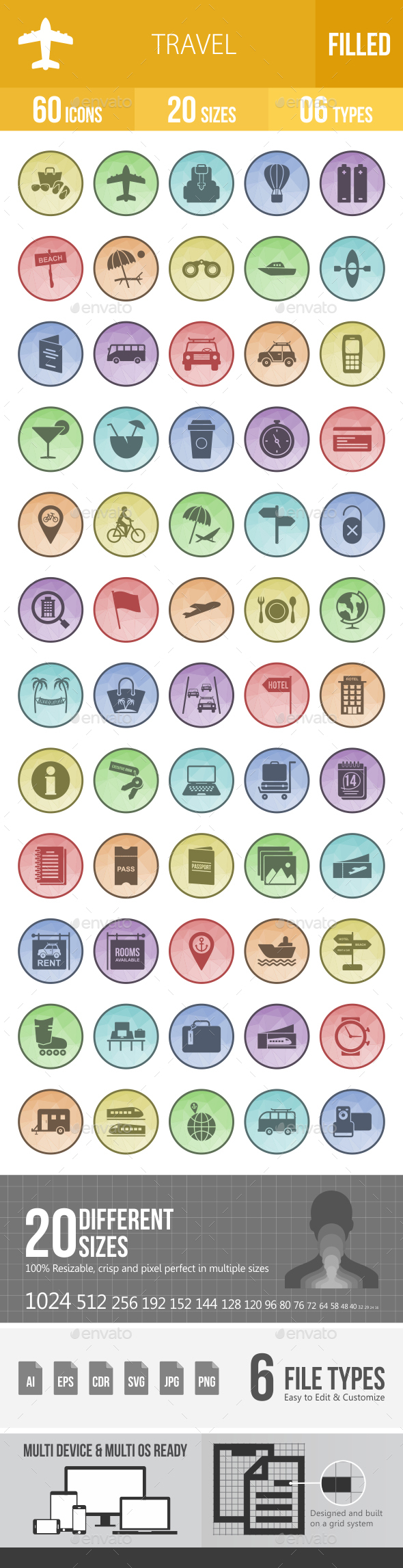 60 Travel Filled Low Poly Icons - Icons
