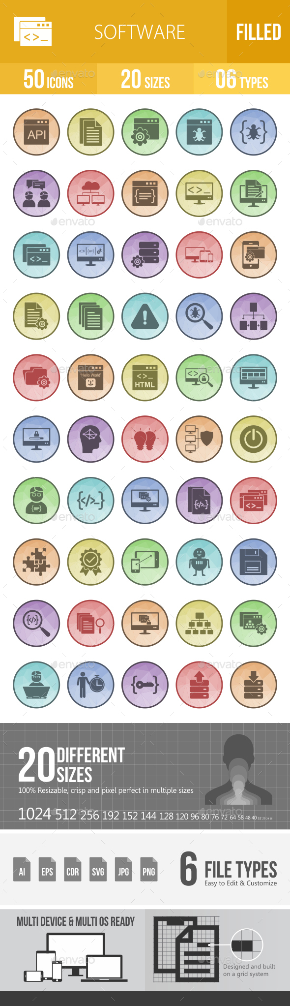 50 Software Development Filled Low Poly Icons - Icons