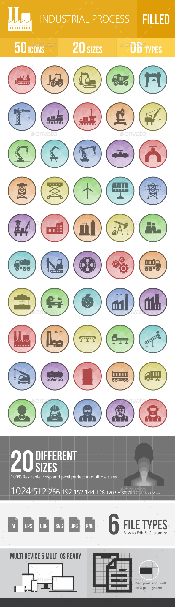 50 Industrial Process Filled Low Poly Icons - Icons