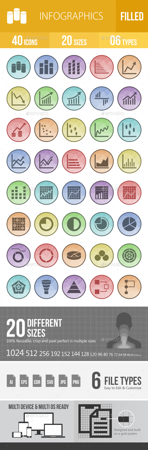 Infographics Filled Low Poly Icons - Icons