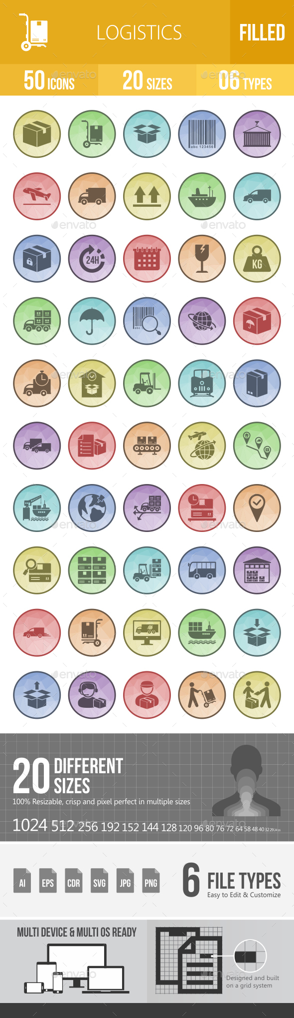 50 Logistics Filled Low Poly Icons - Icons