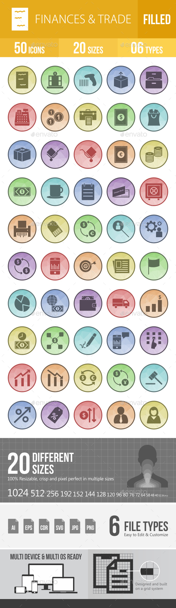 50 Finances & Trade Filled Low Poly Icons - Icons
