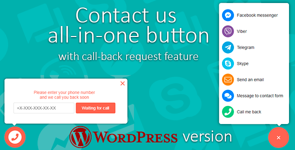 Contact us all-in-one button with callback request feature for WordPress            Nulled