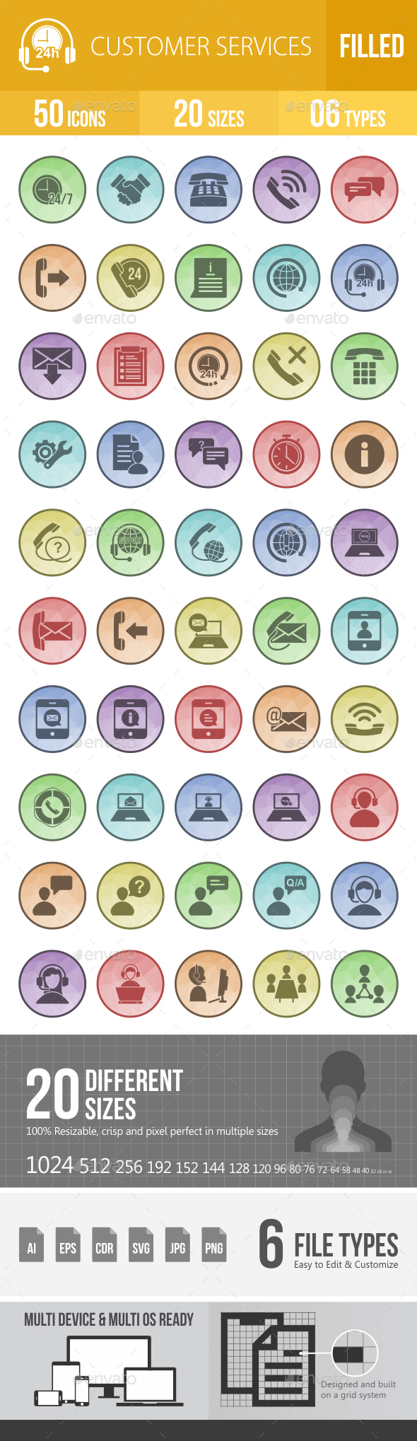 50 Customer Services Filled Low Poly Icons - Icons