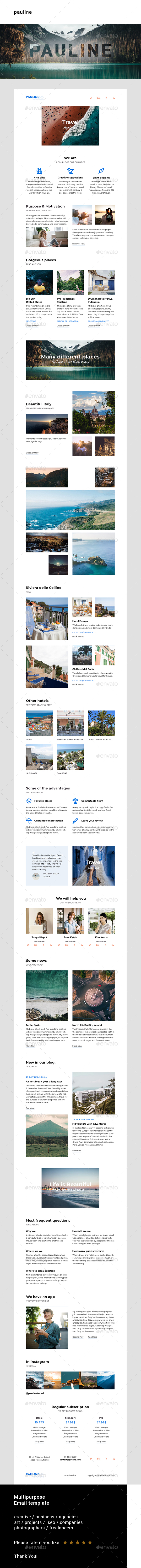 Pauline – Multipurpose Email Template - E-newsletters Web Elements