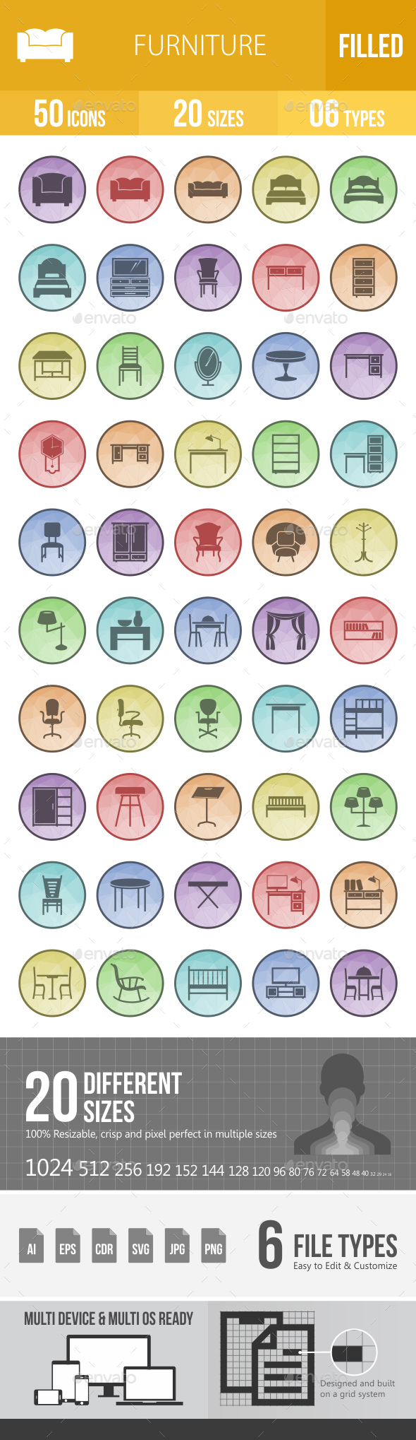 Furniture Filled Low Poly B/G Icons - Icons