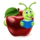 Book Worm Apple Cartoon