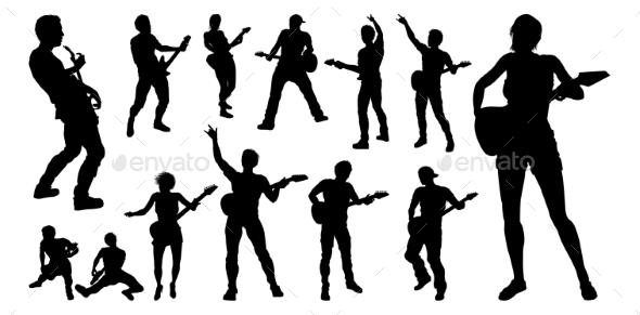 guitarist musicians silhouettes set by krisdog graphicriver